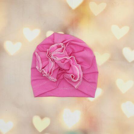 Rózsaszín kislány turbán sapka